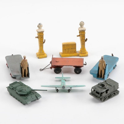 Vintage Dinky Diecast Vehicles Including Tank, Plane, and More