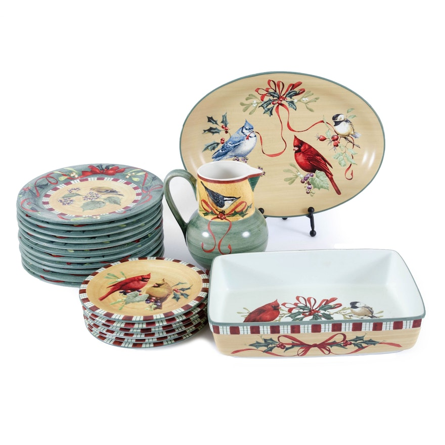 "Lenox ""Winter Greetings"" Holiday Dinner and Serveware, Late 20th Century"