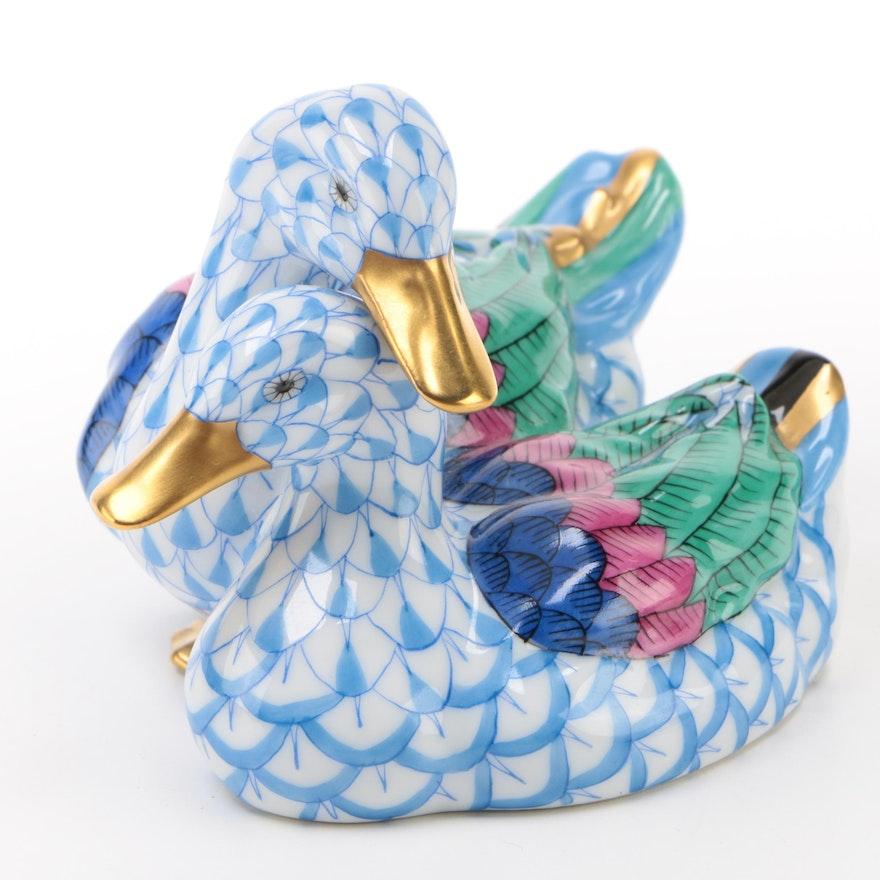 "Herend 175th Anniversary Blue Fishnet ""Pair of Ducks"" Porcelain Figurine, 2001"