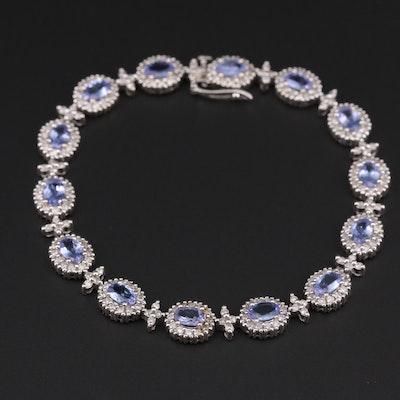 14K White Gold Tanzanite and 3.08 CTW Diamond Bracelet