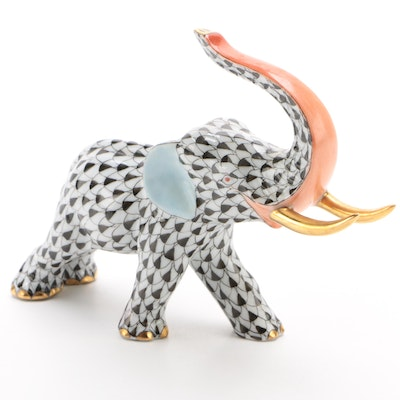"Herend Black Fishnet with Gold ""Elephant with Tusks"" Porcelain Figurine, 1995"