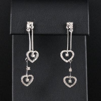 14K White Gold Diamond Heart Dangle Earrings