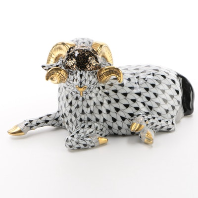 "Herend Black Fishnet with Gold ""Ram"" Porcelain Figurine"