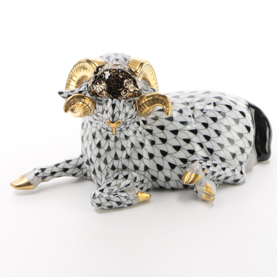 "Herend Black Fishnet with Gold ""Ram"" Porcelain Figurine"