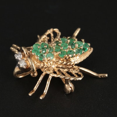 10K Yellow Gold Emerald and Diamond Bee Converter Brooch