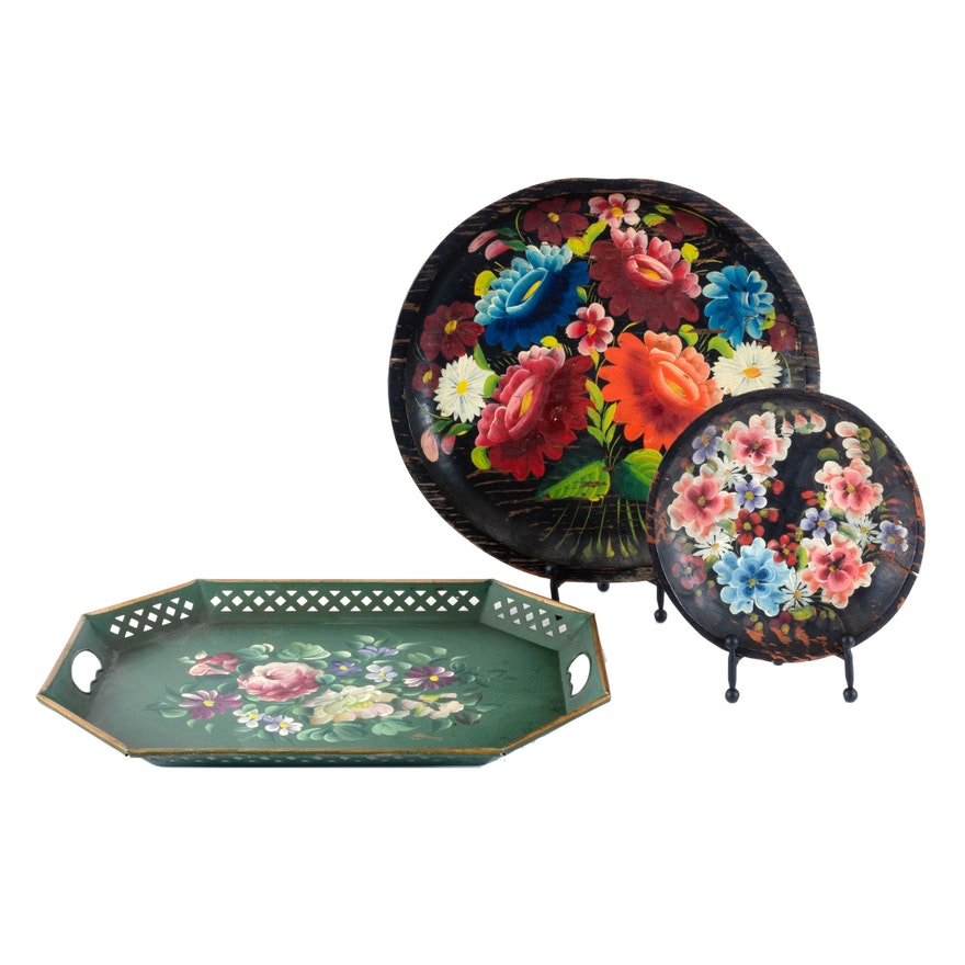 Hand-Painted Floral Metal Tray and Wooden Wall Plaques, Vintage