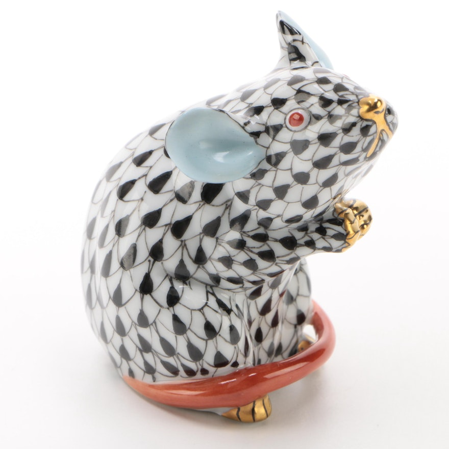 "Herend Black Fishnet with Terracotta and Gold ""Mouse"" Figurine, January 1993"
