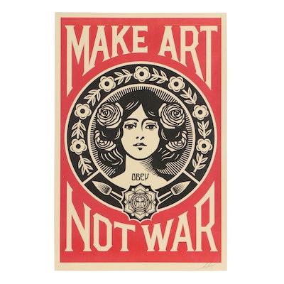 """Shepard Fairey Offset Print """"Make Art Not War"""", 2019"""