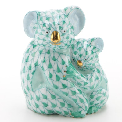 "Herend Green Fishnet with Gold ""Koala with Baby"" Porcelain Figurine"