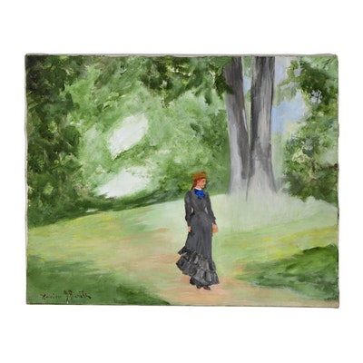 Xavier J. Barile Oil Painting of Woman in the Park