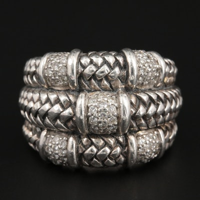 Scott Kay Sterling Silver Ring Diamond Textured Ring