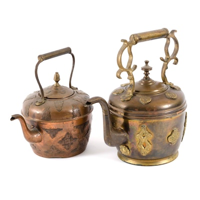 Moroccan Brass Tea Kettles with Applied Motifs, Vintage