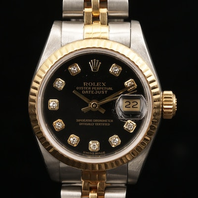Rolex Datejust 18K Gold and Stainless Steel Wristwatch with Diamond Dial, 1989