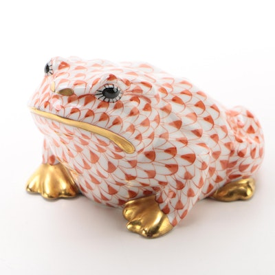 "Herend Rust Fishnet with Gold ""Frog"" Porcelain Figurine"