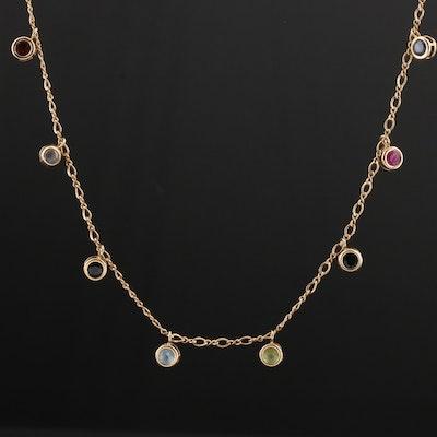 14K Yellow Gold Sapphire, Ruby, Peridot, Aquamarine, and Garnet Necklace