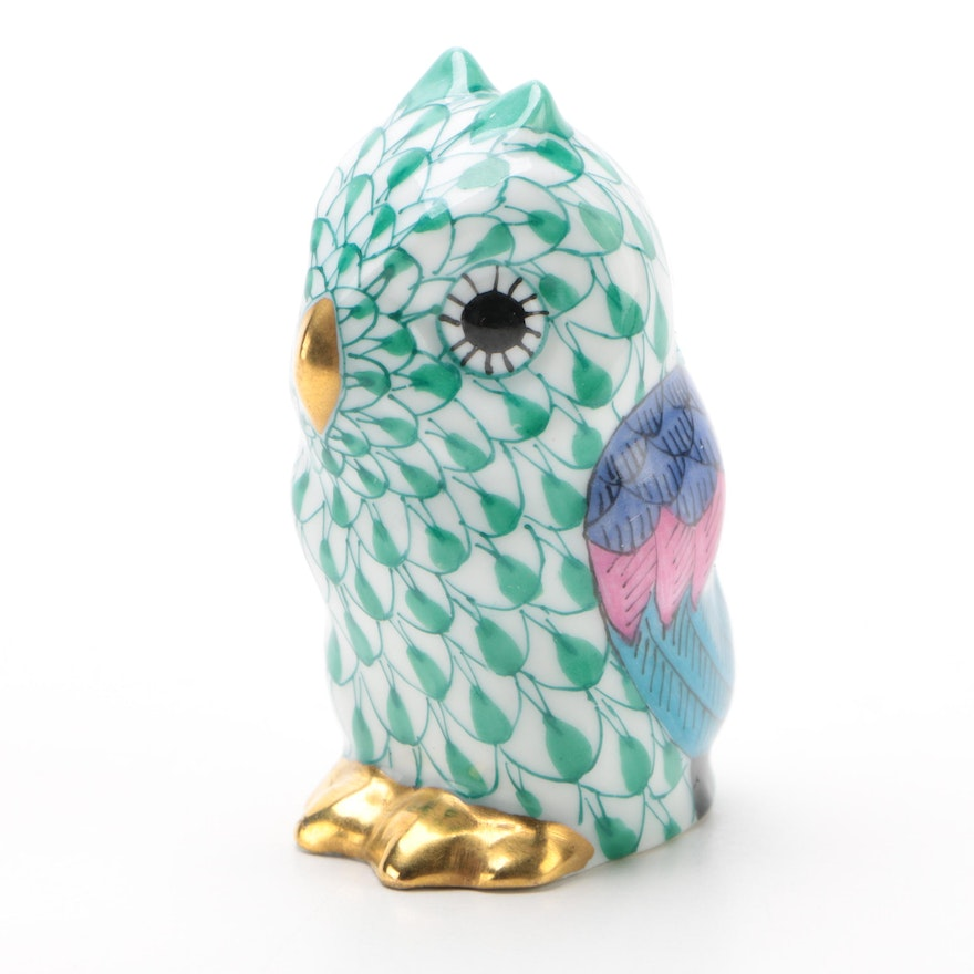 """Herend Green Fishnet with Gold """"Miniature Owl"""" Porcelain Figurine"""