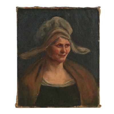 Portrait Oil Painting of Woman, 19th Century