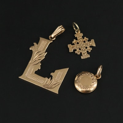 "10K and 14K Yellow Gold Locket, Cross and ""L"" Pendants"