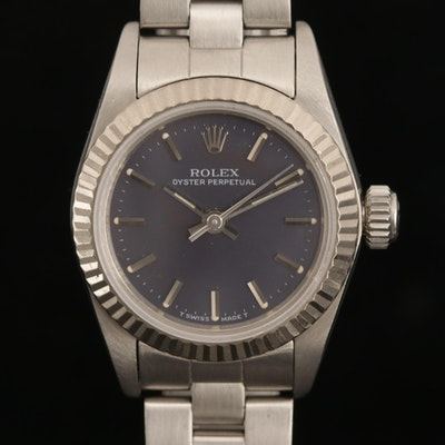 Vintage Rolex Oyster Perpetual Stainless Steel and 18K White Gold Wristwatch