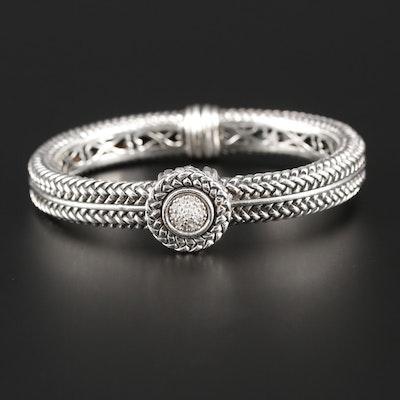 Scott Kay Sterling Silver Diamond Textured Bracelet