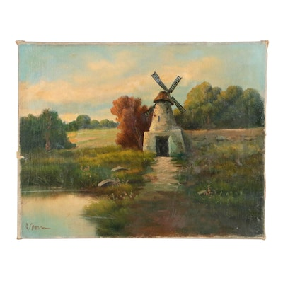 Late 19th Century Dutch Landscape Oil Painting