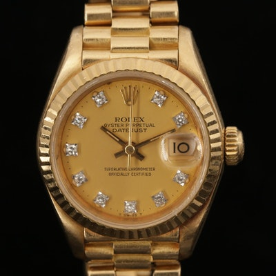 Rolex Datejust 18K Yellow Gold Diamond Dial Wristwatch, 1984