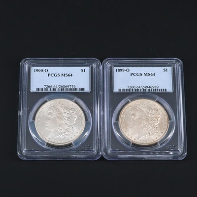 Two PCGS Graded MS64 Silver Morgan Dollars Including an 1899-O and 1900-O