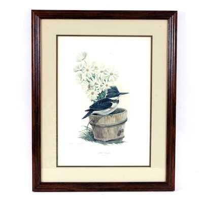 """John Ruthven Offset Lithograph """"Belted Kingfisher"""", Late 20th Century"""