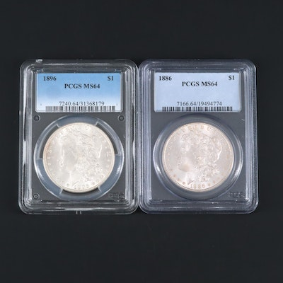 Two PCGS Graded MS64 Silver Morgan Dollars Including an 1886 and 1896