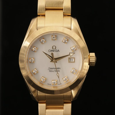 Omega Seamaster Aqua Terra 18K Gold and Diamond Wristwatch with Mother of Pearl