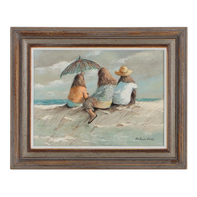 Robert Fabe Acrylic Painting of Women Sitting on the Beach