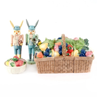 Fitz and Floyd Hand-Painted Dish with Other Rabbit Nutcrackers and Cookie Jar