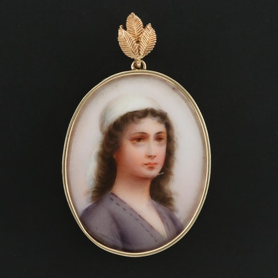 10K and 14K Yellow Gold Portrait Pendant