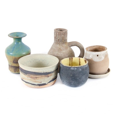 Clay and Stoneware Handcrafted Artisan Vessels, Vintage