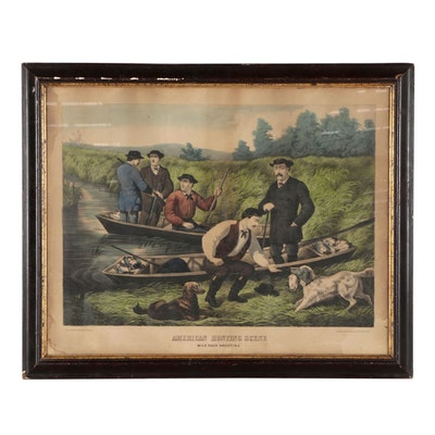 "Thomas Kelly Hand Colored Lithograph ""American Hunting Scene"""