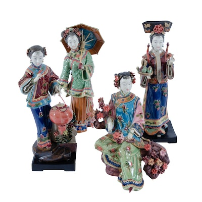 Hand-Painted Chinese Women Figurines