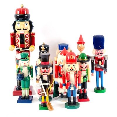 Collection of Hand-Painted Wooden Nutcrackers, Mid to Late 20th Century