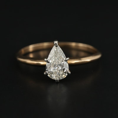 14K Yellow Gold 0.83 CT Diamond Solitaire Ring