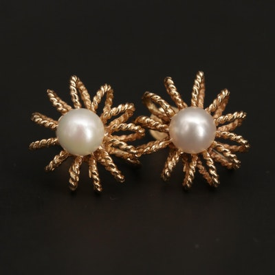 Vintage 14K Yellow Gold Cultured Pearl Earrings