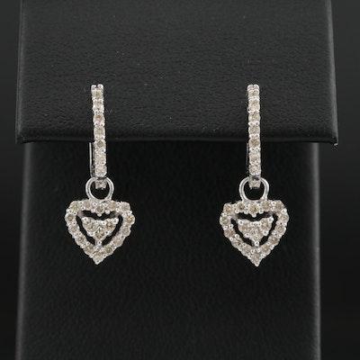 14K White Gold Diamond Huggie Earrings with Diamond Heart Dangle