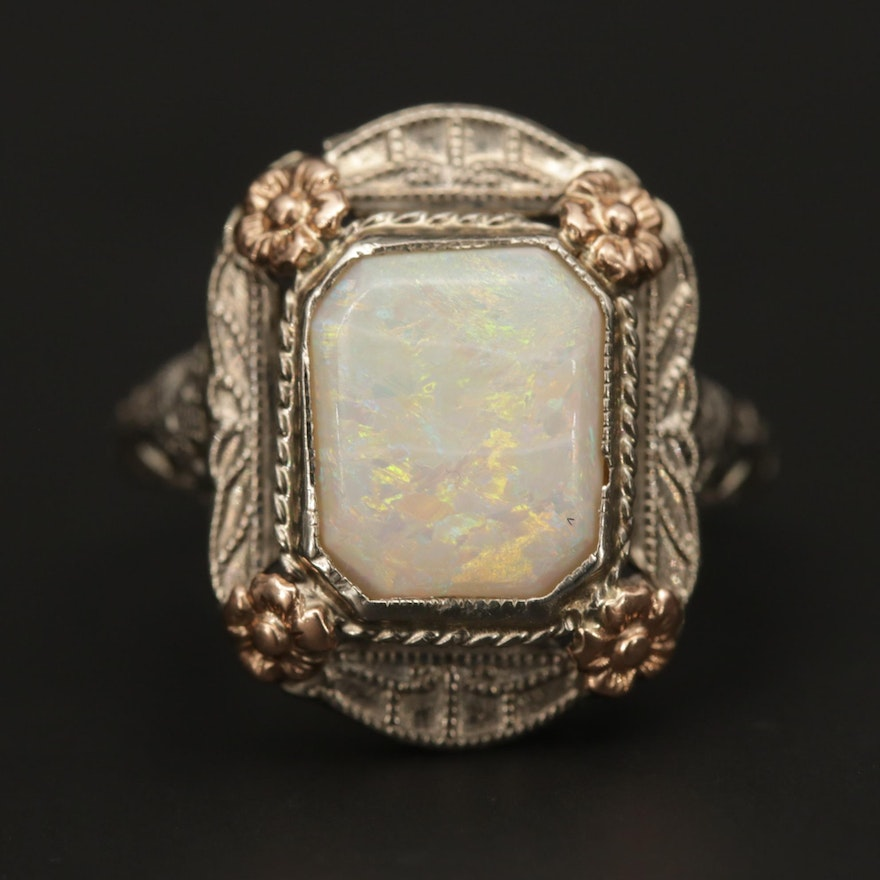 Circa 1930's 14K White Gold Opal Ring With Rose Gold Accents