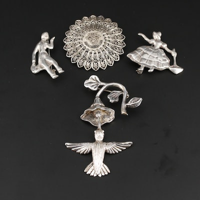 Vintage Sterling Silver Brooches Including Hummingbird and West Point