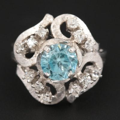 Vintage 14K White Gold Zircon and Diamond Ring with Florentine Finish