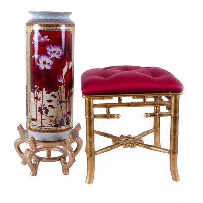 East Asian Inspired Tufted Stool, Gilt Stand and Hand-Painted Floor Vase