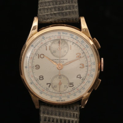 Chronographe Suisse  18K Rose Gold Chronograph Watch, Vintage