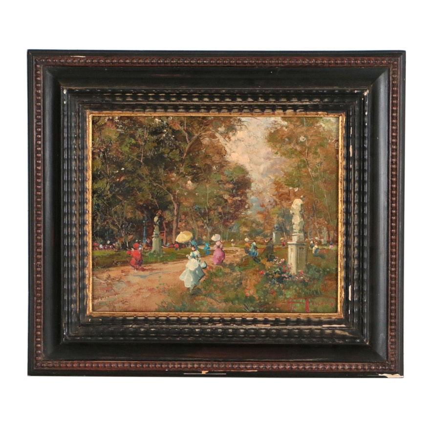 Oil Painting of Park Landscape with Figures