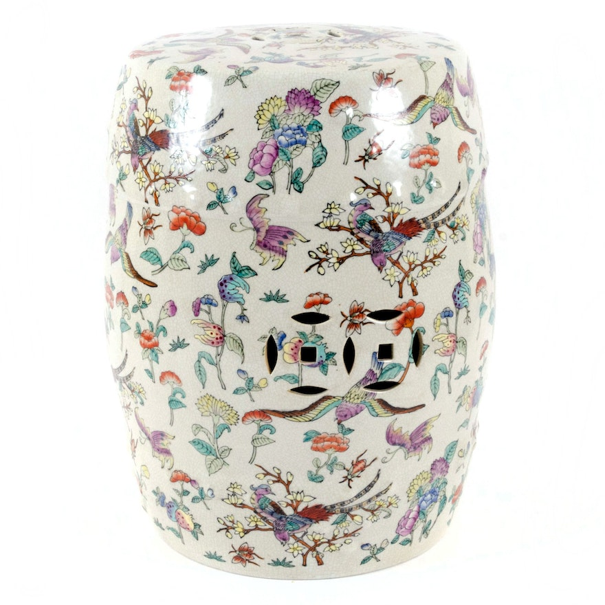 Chinese Hand-Decorated Ceramic Garden Stool in Botanical, Bird and Insect Motif