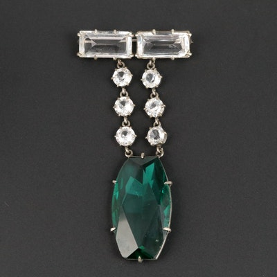 Art Deco Faceted Glass Brooch