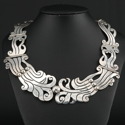 Signed Mexican Sterling Silver Panel Necklace
