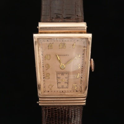 Vintage Longines 10K Gold Filled Asymmetrical Case Stem Wind Wristwatch